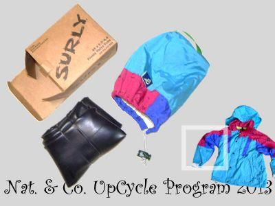 ゴアテックスジャケット古着をアップサイクルしてスペアチューブのスタッフバッグを試作。2013